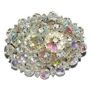 Vintage Crystal Beaded Cluster Oval Brooch
